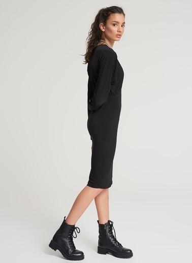 Pi π Uzun Kollu Dar Elbise Siyah